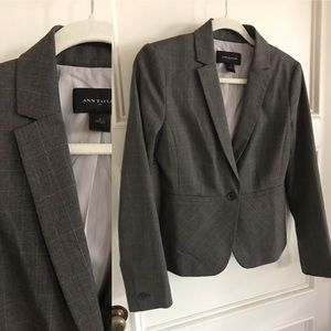 ANN TAYLOR professional blazer grey subtle plaid